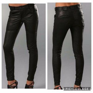 A.L.C. Black Leather Skinny Moto Pants